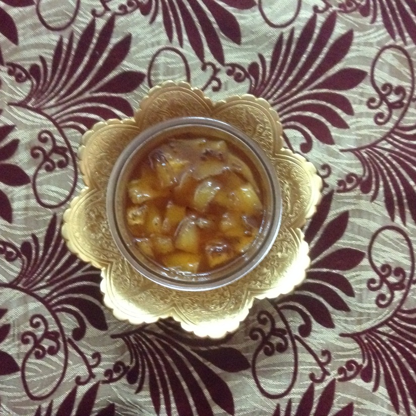 Sweet tangy mango pickle.