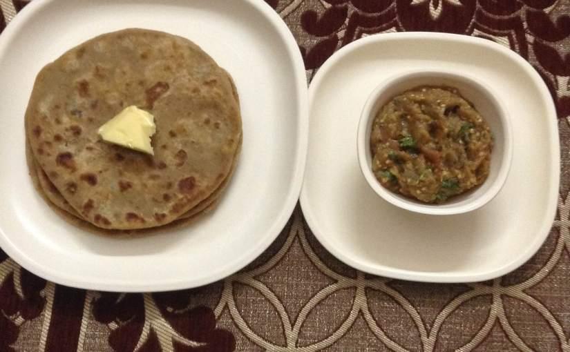 Roasted Gram Flour Parantha With MashedBrinjals