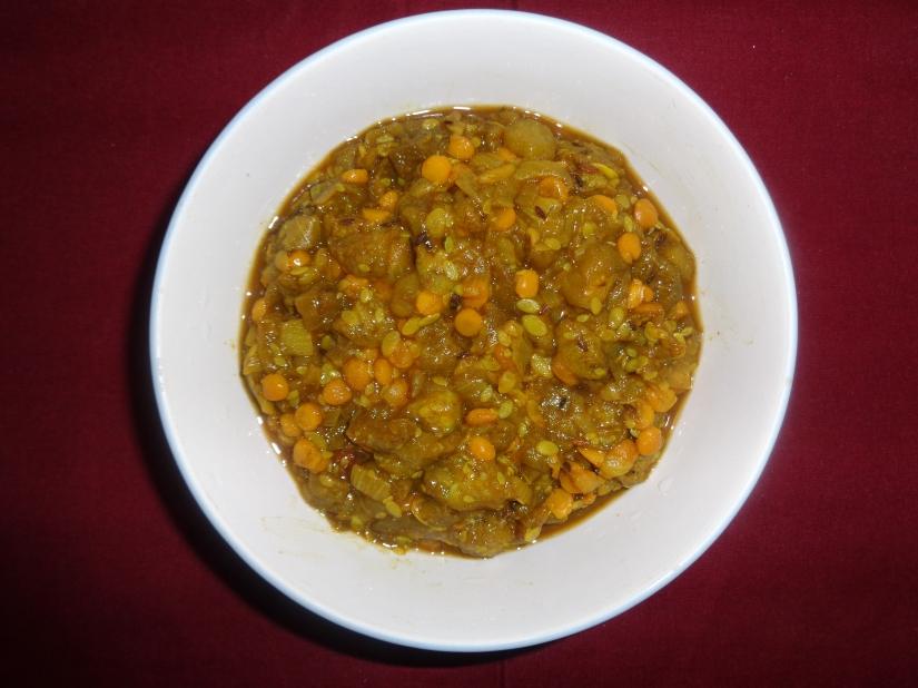 Sponge Gourd-Split Bengal Gram SauteedVegetables.