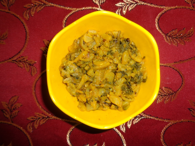 Pumpkin with spinach.
