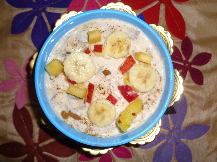 Fruit raita with Flax seed.