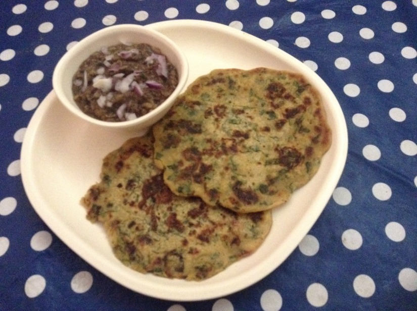 Gram,Oats, Millet Flour And Spinach Cheelas With Brinjal And Flax Seed Bharta