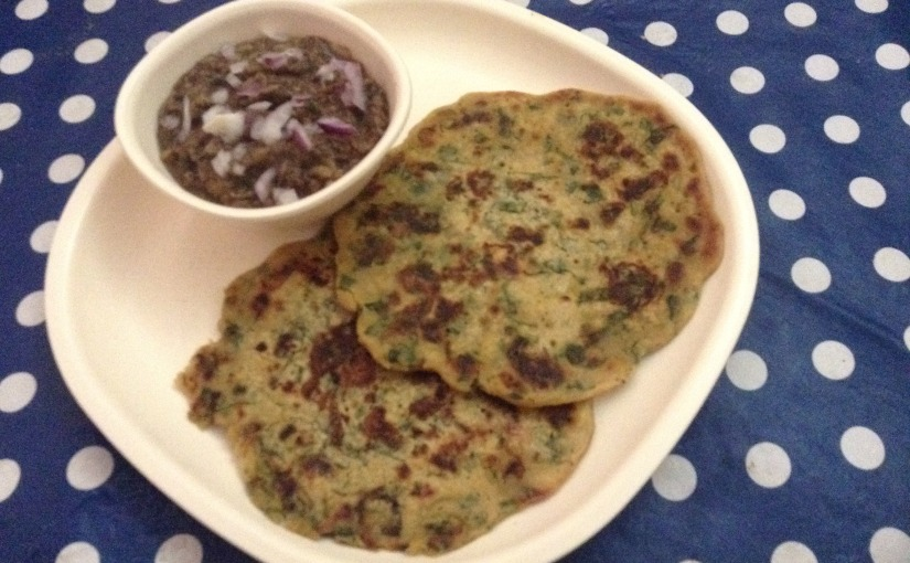 Gram,Oats, Millet Flour And Spinach Cheelas With Brinjal And Flax SeedBharta
