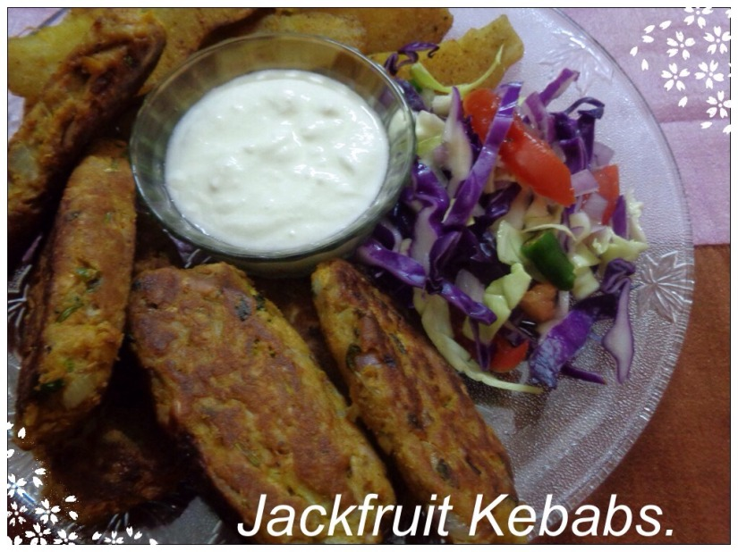 Jack fruit kebabs with shallow fried sweet potatoes.