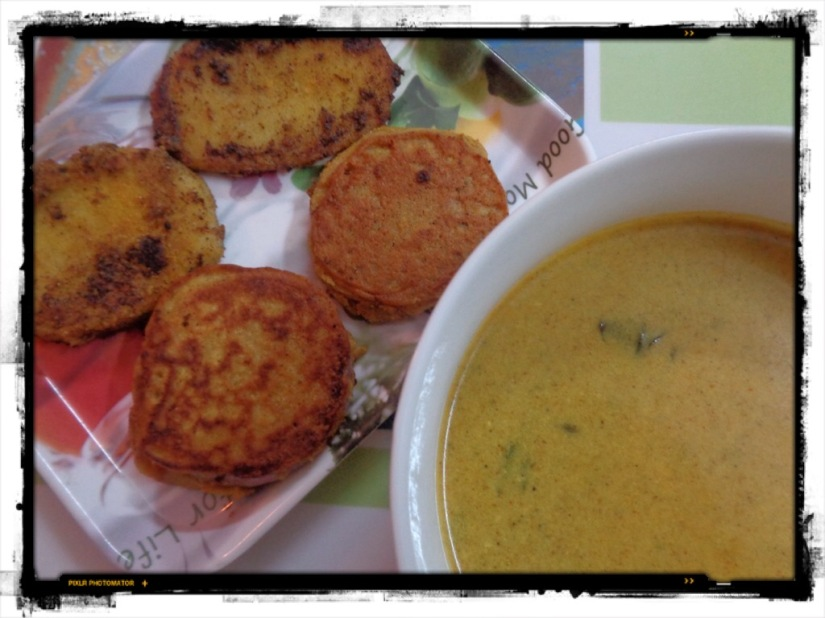 Shallow Fried Potato And Onion Kadhi