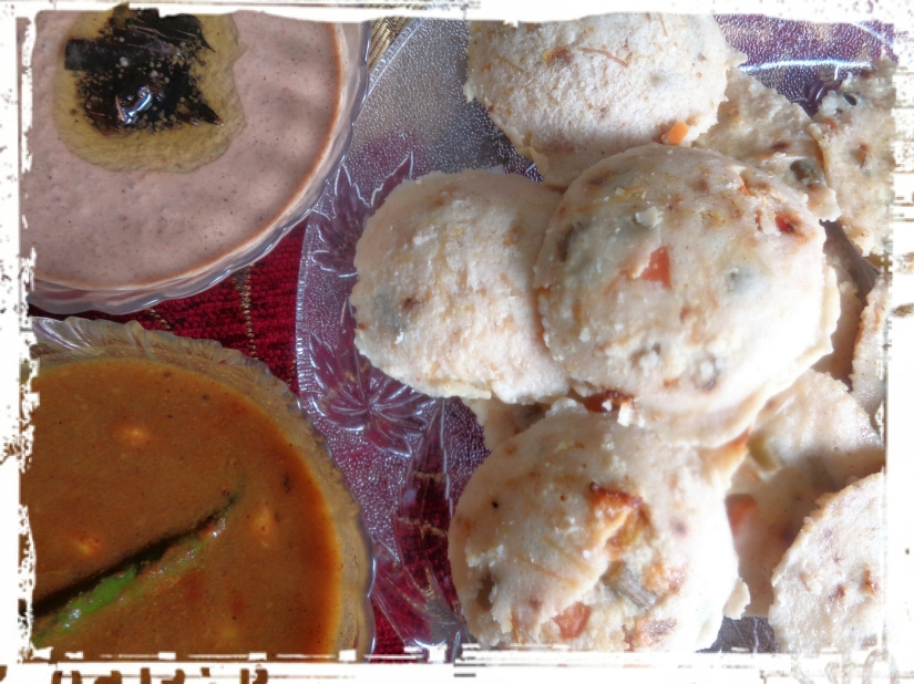 Mixed Veg And Vermicelli Idli With Potato Rasa And Peanut-Sesame Chutney