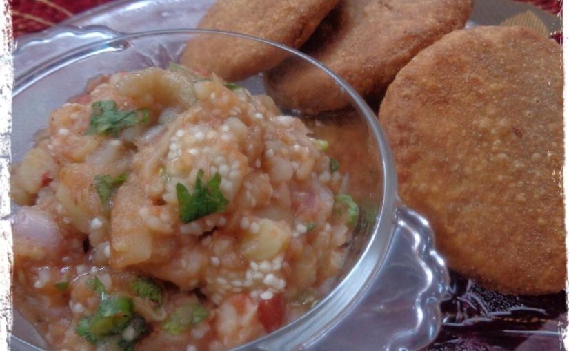 Fried Litti With Mashed Brinjals,Potato andTomato