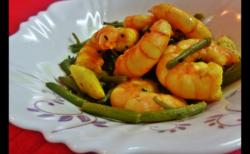 Buttery Prawns With Garlic And Amaranth Stem